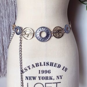 CHICO's Mixed Metal Gold & Silver Chain Coin Belt